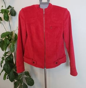 CLEARANCE!! Tribal Red Faux Suede Cropped Jacket